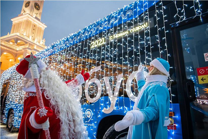 Дед Мороз организует новогодний онлайн-квест в электробусах Москвы