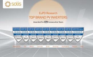 Высокое качество инверторов Solis отмечено знаком Top PV Brand 2021 на пяти континентах