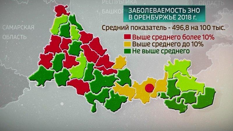 Карта онкологии Оренбуржья – Ясный в зеленой зоне