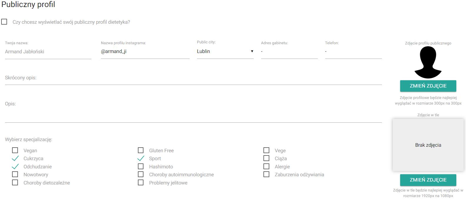 Profil pozwalający gromadzić pacjentów