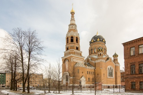 Вид на Храм Воскресения Христова с Варшавского вокзала<br>