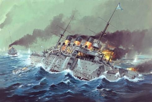 Крейсер Аврора во время Цусимского сражения
