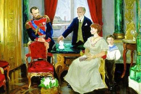 Карл Фаберже представляет свою работу императорской семье