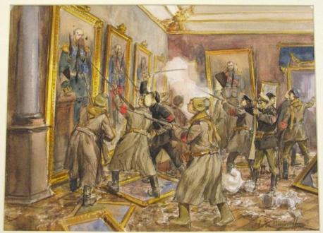 Восставшие матросы вторгаются в залы Эрмитажа
