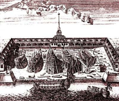 Изображение Адмиралтейства на старинной гравюре