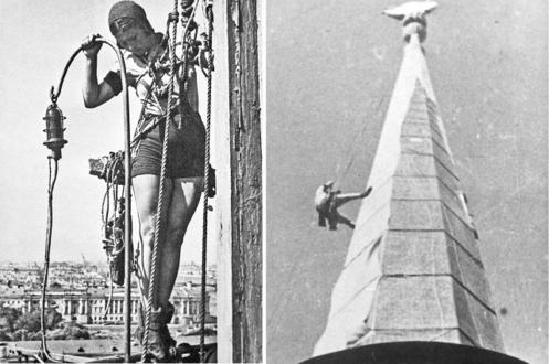 Шпиль Адмиралтейства под чехлом в годы блокады Ленинграда
