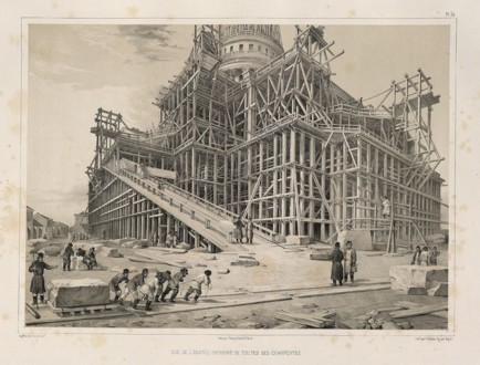 Строительство собора (литография XIX века)