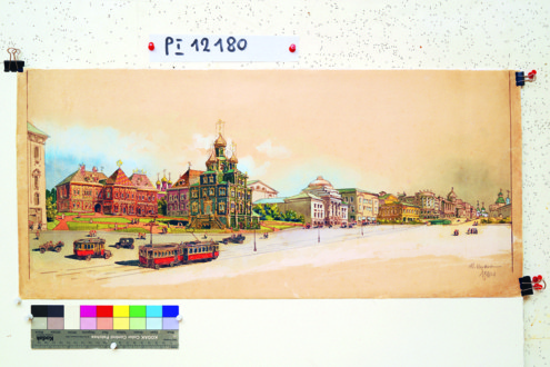 Охотный Ряд. Проект реконструкции Д.П. Сухова. Вариант. 1928 год
