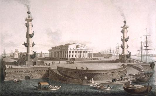 Стрелка Васильевского острова с Ростральными колоннами и Биржей в начале XIX века - гравюра