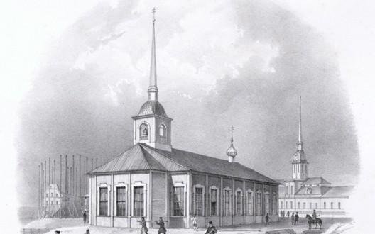 Первая деревянная Исаакиевская церковь в 1710 году