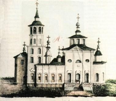 Фасад главной каменной церкви Спасского монастыря в Якутске. Фото конца XIX века