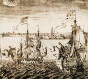 Петропавловский собор со стороны Невы в 1716 году - гравюра