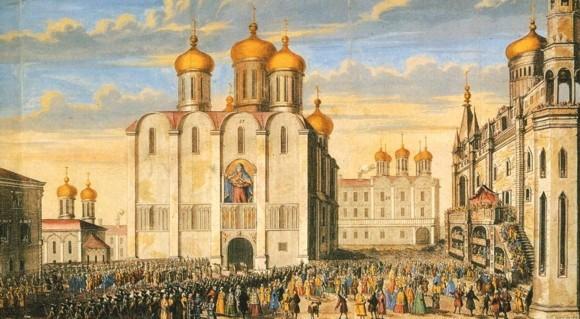 Соборная площадь. Иллюстрация из коронационного альбома Анны Иоанновны. 1730 год.