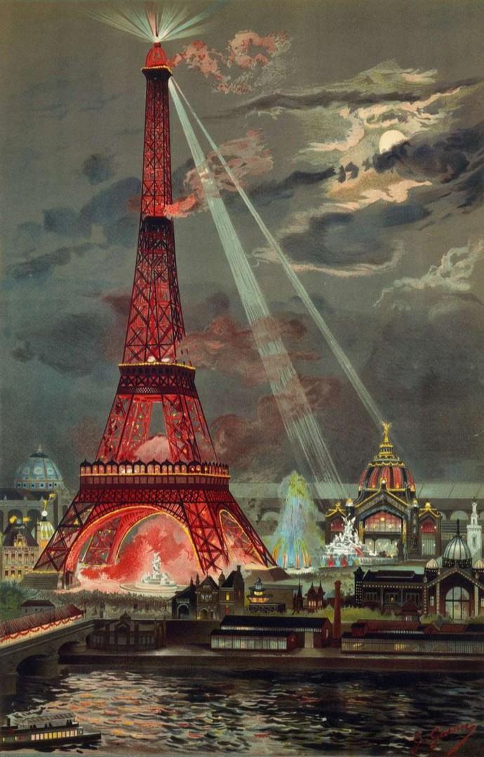 Подсветка башни во время Всемирной выставки