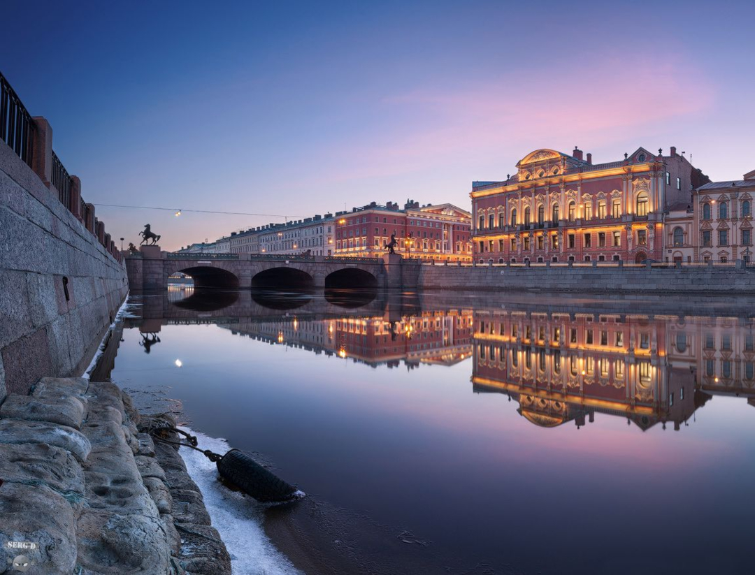 Вид на набережную Фонтанки, Аничков мост и дворец Белосельских-Белорецких