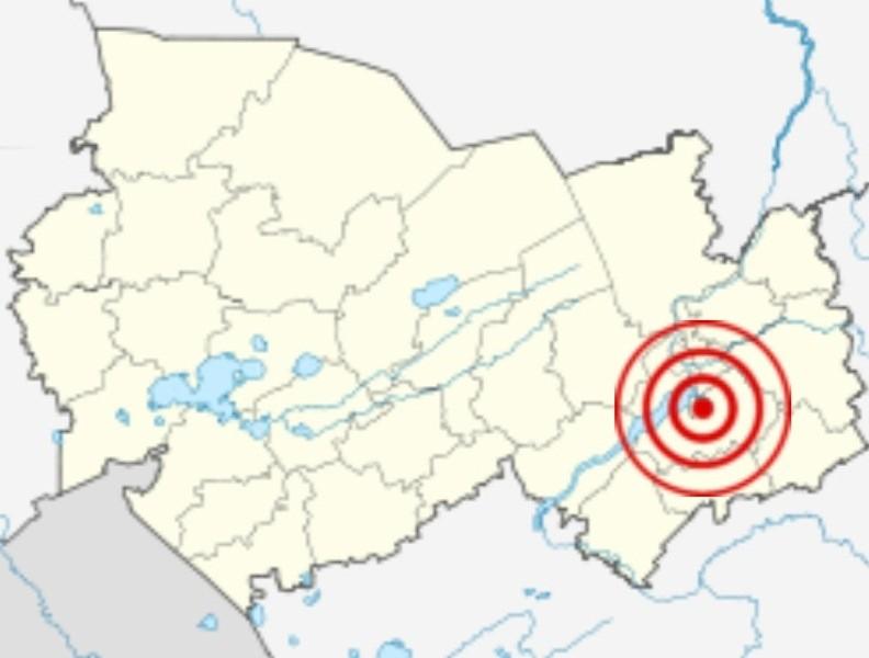 Эпицентр Бердского землетрясения, произошедшего в 1882 году в Томской губернии