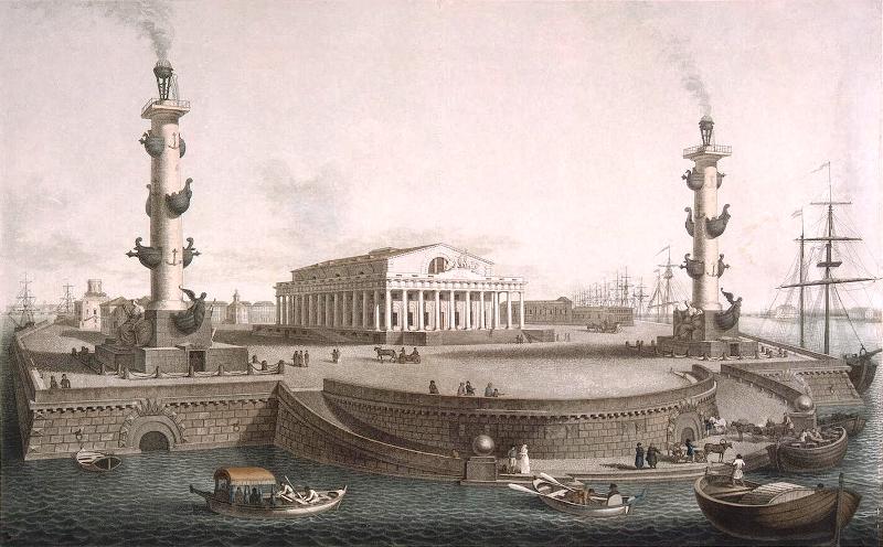Стрелка Васильевского острова с Ростральными колоннами и Биржей в начале XIX века-гравюра