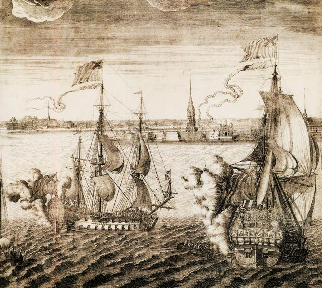 Петропавловский собор со стороны Невы, 1716 год - гравюра
