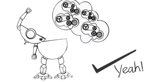 Карикатура на робота поедающего знания