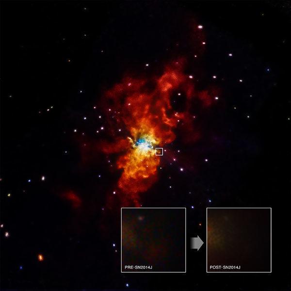 Рождение сверхновой, названной SN 2014J
