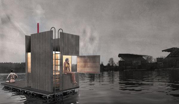 Фантазия дизайнера, на тему как сауна будет выглядеть после сборки и размещена в водоеме.