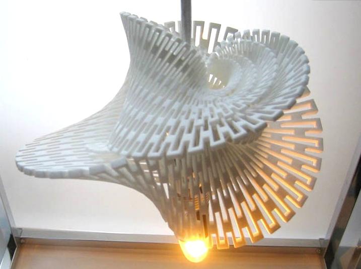 3D-напечатанная светодиодная лампа , которая преобразует энергию ветра в электрический ток.