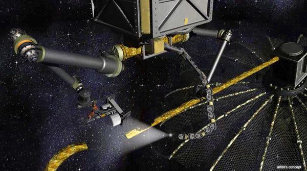 Робот ремонтник чинит вышедший из строя космический мусорозборщик