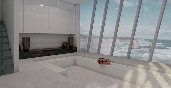 Минималистическая мебель, должна подчеркнуть близость с океаном