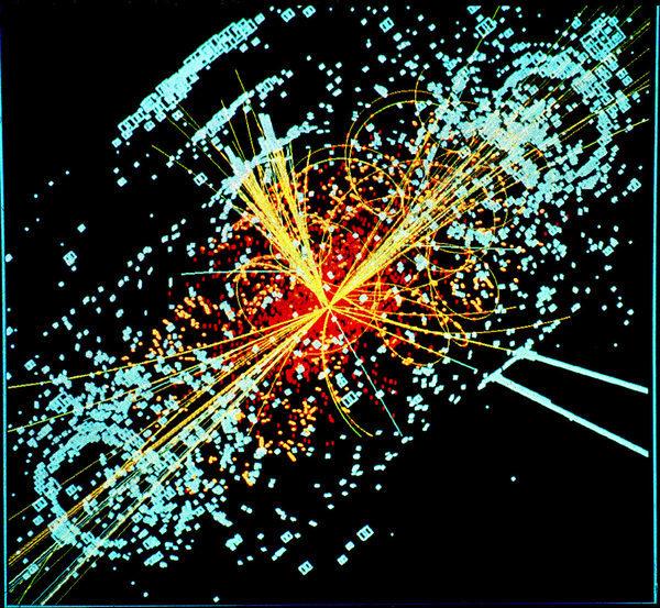Моделирование, показывающее появление бозона Хиггса при столкновении двух протонов