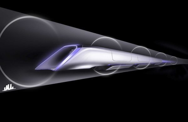 "Sketch of proposed ""Hyperloop"" transport system proposed by billionaire Elon Musk"