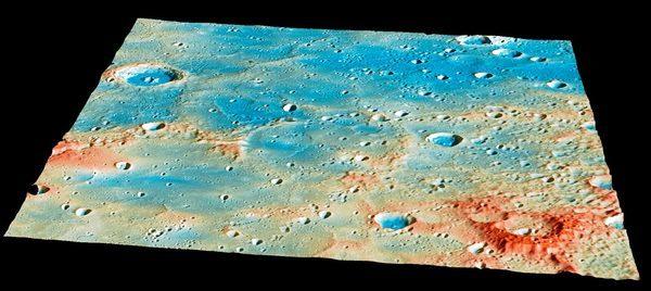 Область поверхности Меркурия, где предположительно упал  MESSENGER