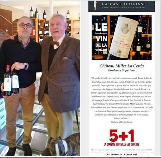 Le château Miller La Cerda, « vin de la semaine » à la Cave d'Ulysse à Margaux