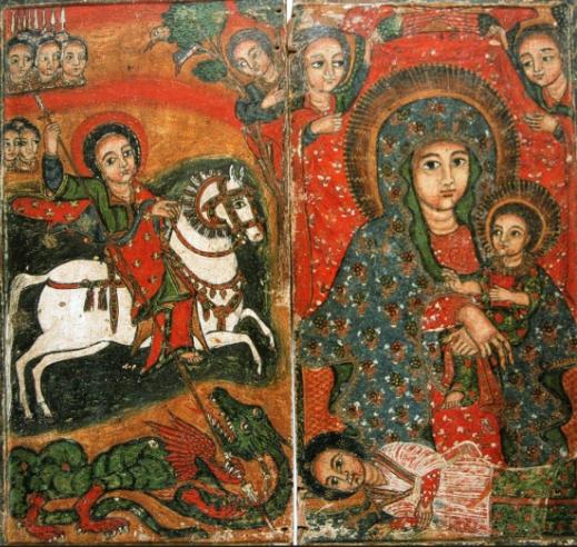 zTradition chrétiens éthiopiens saint Georges, « patron céleste de l'Ethiopie » associé à la Vierge à l'Enfant, diptyque peint sur bois.png