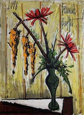 Vase avec des cystines et des dalhia par Bernard Buffet (1998)