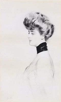 """Gravure """"Portrait de Madame Letellier """" par Paul Helleu vers 1900"""