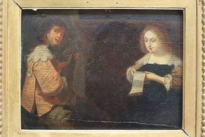 """""""chanteuse et un joueur de mandore"""", école flamande du XVIIème siècle"""