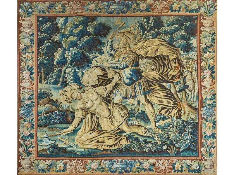 Verdure d'Aubusson du XVIIème, Achille et Hector au combat