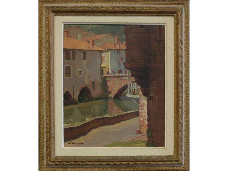 Huile « L'Echauguette à Saint-Jean-Pied-de-Port « par René Rodes (1896-1971),