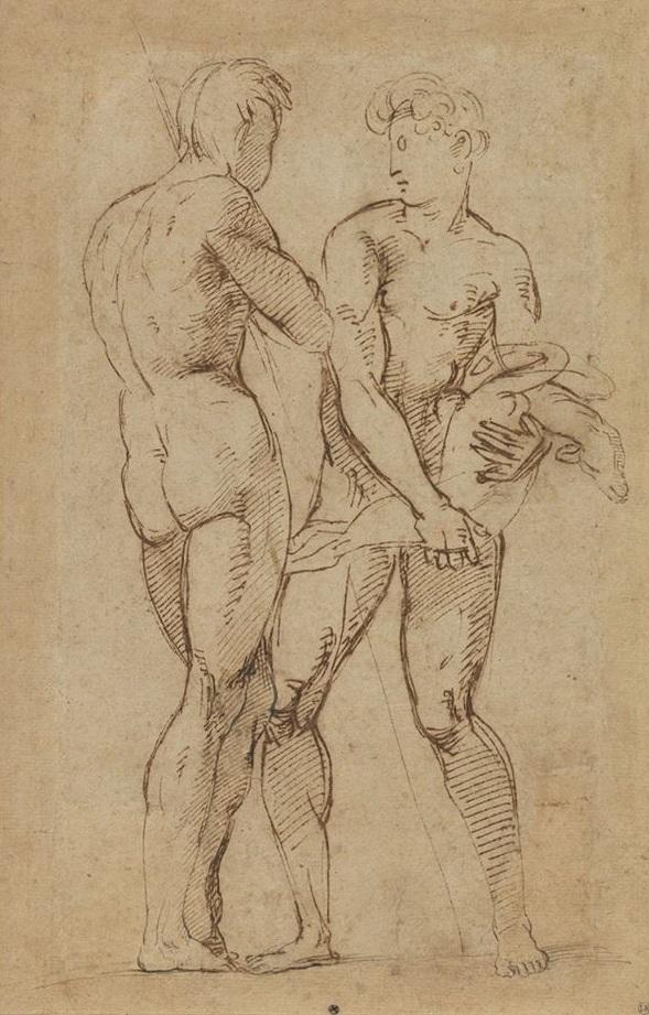 2 Hommes nus face à face par Raphaël.jpg