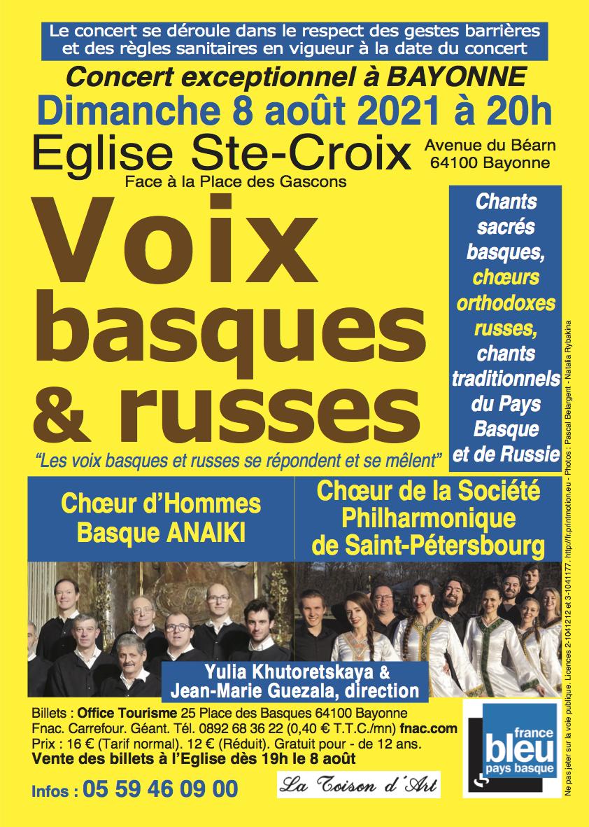 Belles voix de Russie et du Pays Basque à Bayonne et à Arcachon