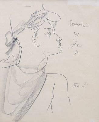 """Dessin crayon noir 'Souvenir de Jean à Jeannot"""" par Jean Cocteau (1940)"""