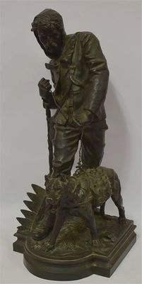 Bronze du contrebandier et son chien par Carlier