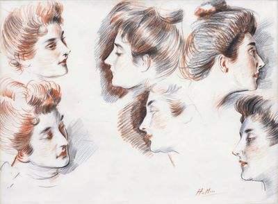 Pastel Etude de 6 visages par Paul Helleu