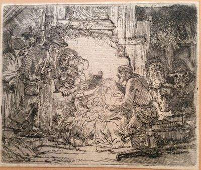 """Eau-forte """"l'adoration des bergers à la lampe"""" par Rembrandt Van RIJN"""