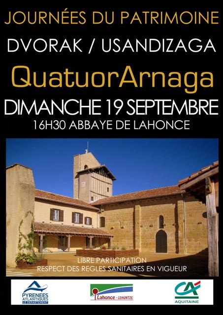 Abbaye de Lahonce: Dvorak et Usandizaga au programme du Quatuor Arnaga