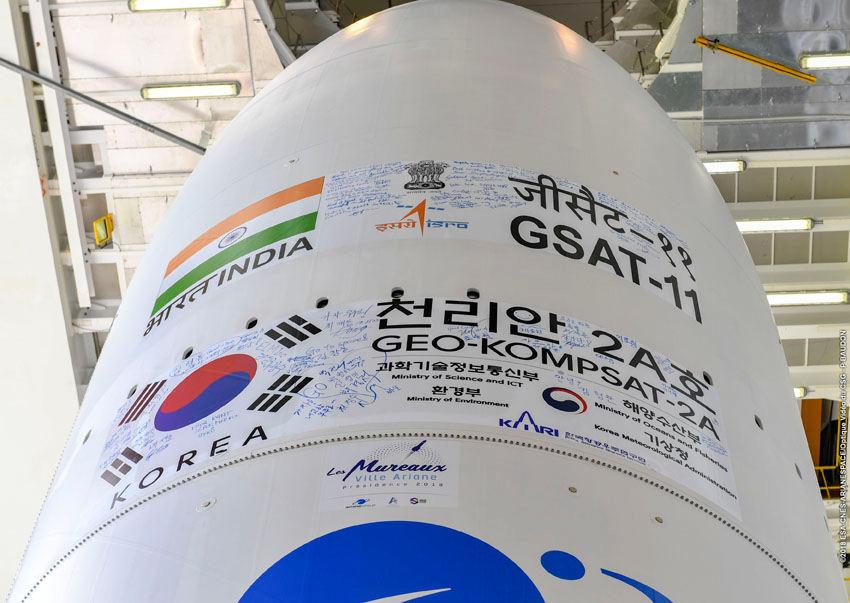 Ariane 5 launches satellites for India, Korea