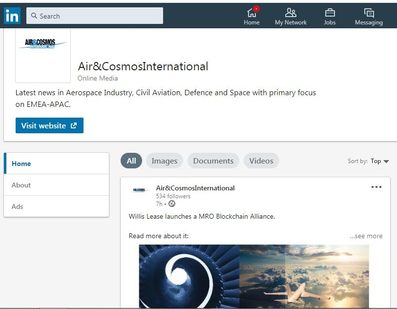 Follow Air and Cosmos International on LinkedIn