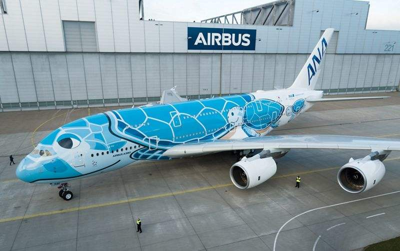 First ANA A380 rolls out of Airbus paint shop