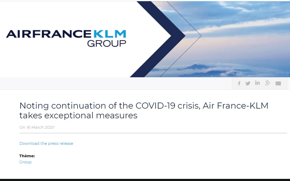 Noting continuation of the COVID-19 crisis, Air France-KLM takes exceptional measures