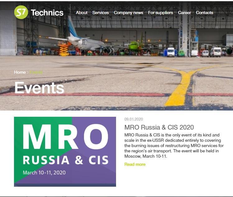 S7 Technics Holding will exhibit at MRO Russia & CIS 2020